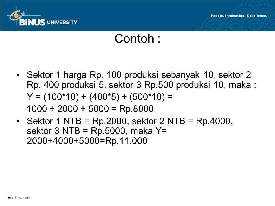 Contoh : Sektor 1 harga Rp. 100 produksi sebanyak 10, sektor 2 Rp. 400 produksi 5, sektor 3 Rp.500 produksi 10, maka :