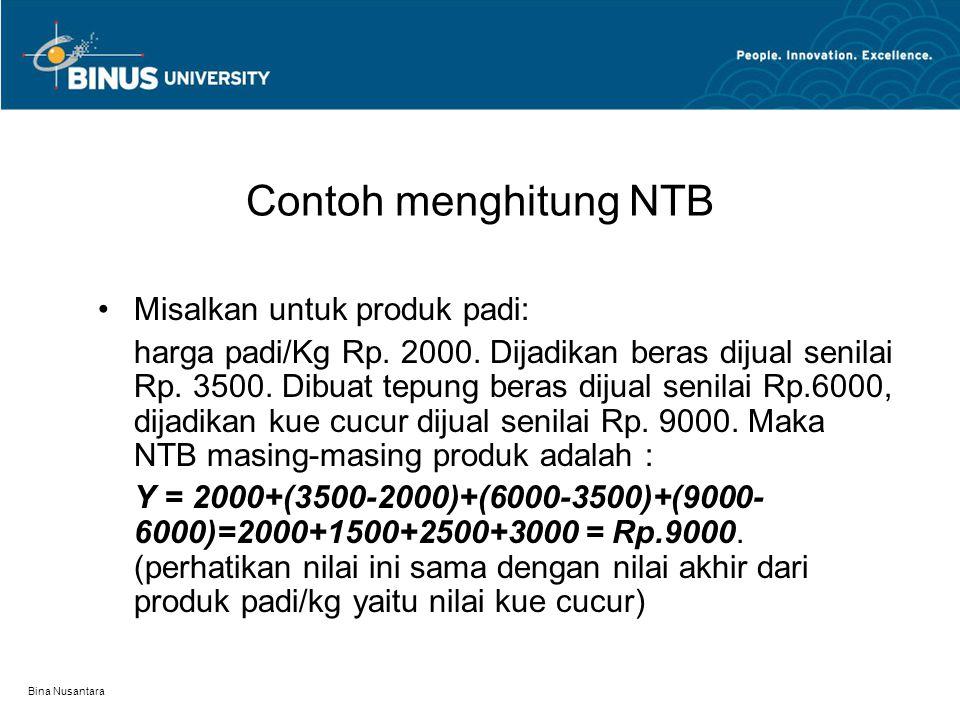 Contoh menghitung NTB Misalkan untuk produk padi: