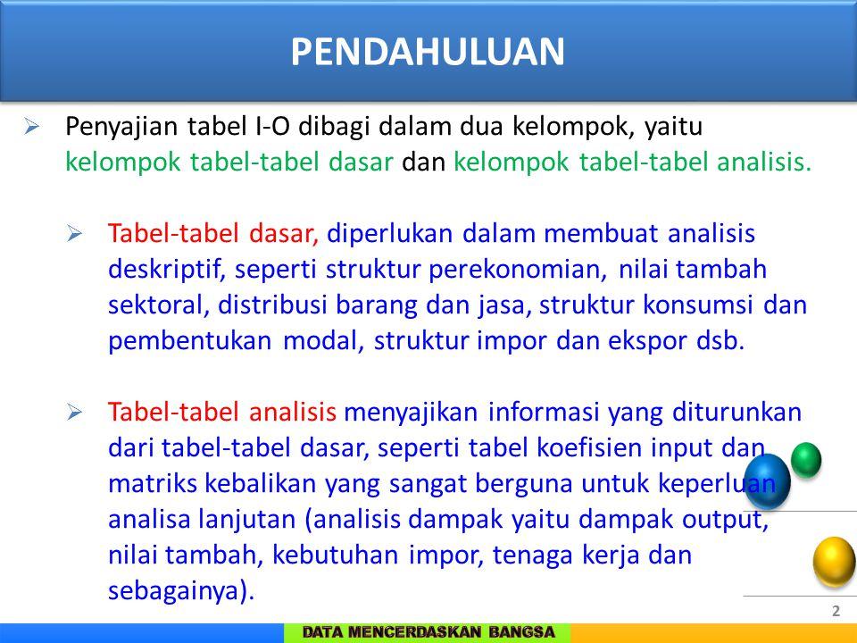 PENDAHULUAN Penyajian tabel I-O dibagi dalam dua kelompok, yaitu kelompok tabel-tabel dasar dan kelompok tabel-tabel analisis.
