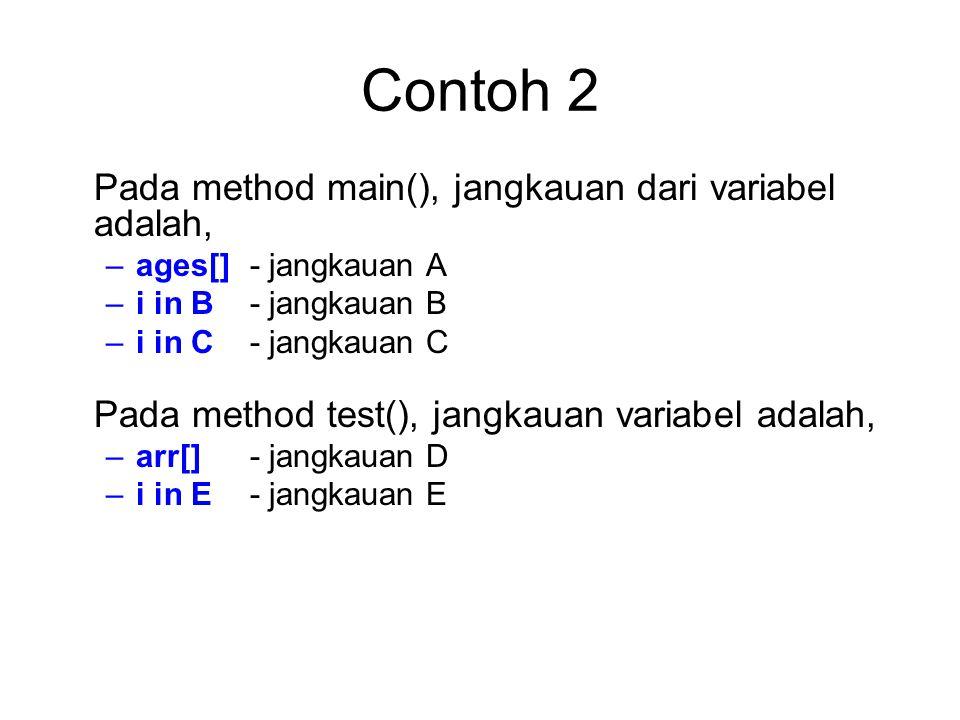 Contoh 2 Pada method main(), jangkauan dari variabel adalah,