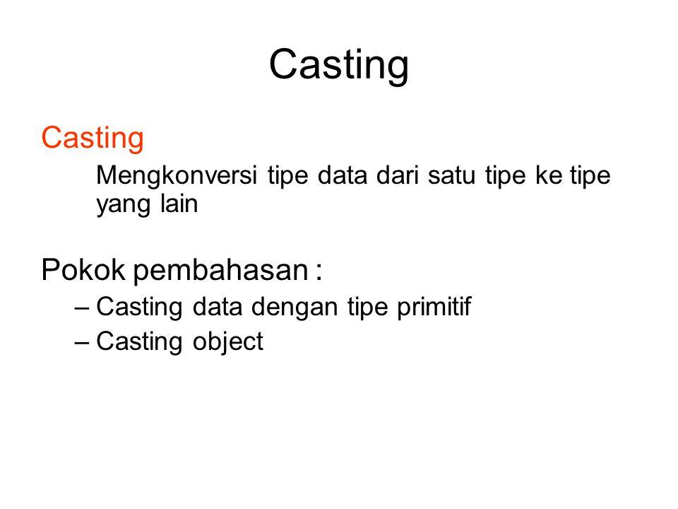 Casting Casting Pokok pembahasan :