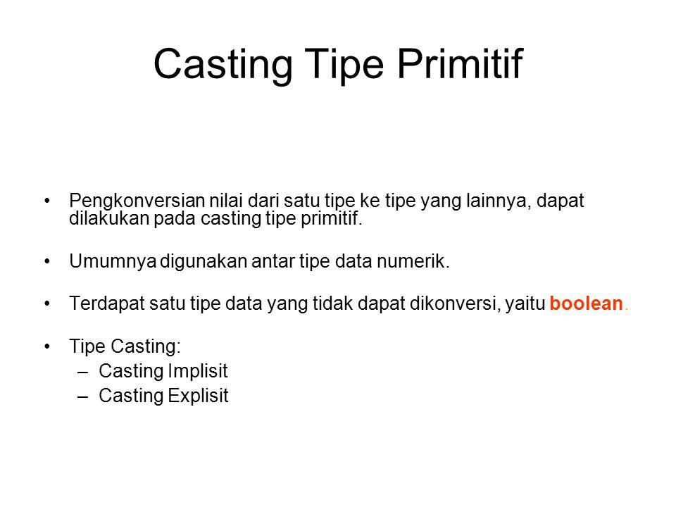 Casting Tipe Primitif Pengkonversian nilai dari satu tipe ke tipe yang lainnya, dapat dilakukan pada casting tipe primitif.