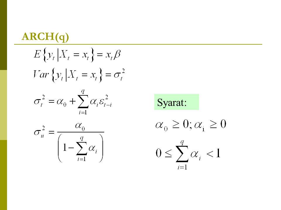 ARCH(q) Syarat: