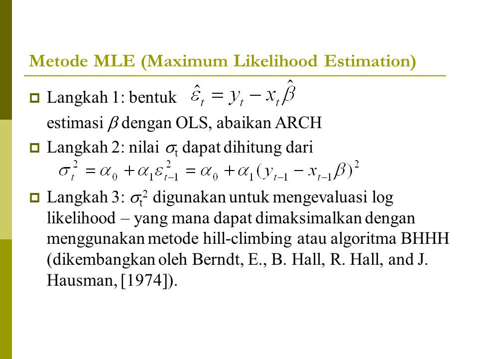 Metode MLE (Maximum Likelihood Estimation)