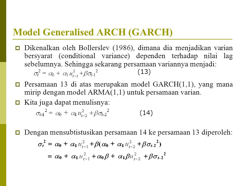 Model Generalised ARCH (GARCH)
