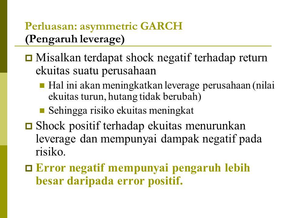 Perluasan: asymmetric GARCH (Pengaruh leverage)