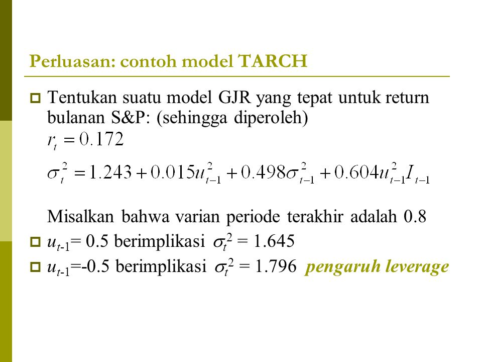 Perluasan: contoh model TARCH