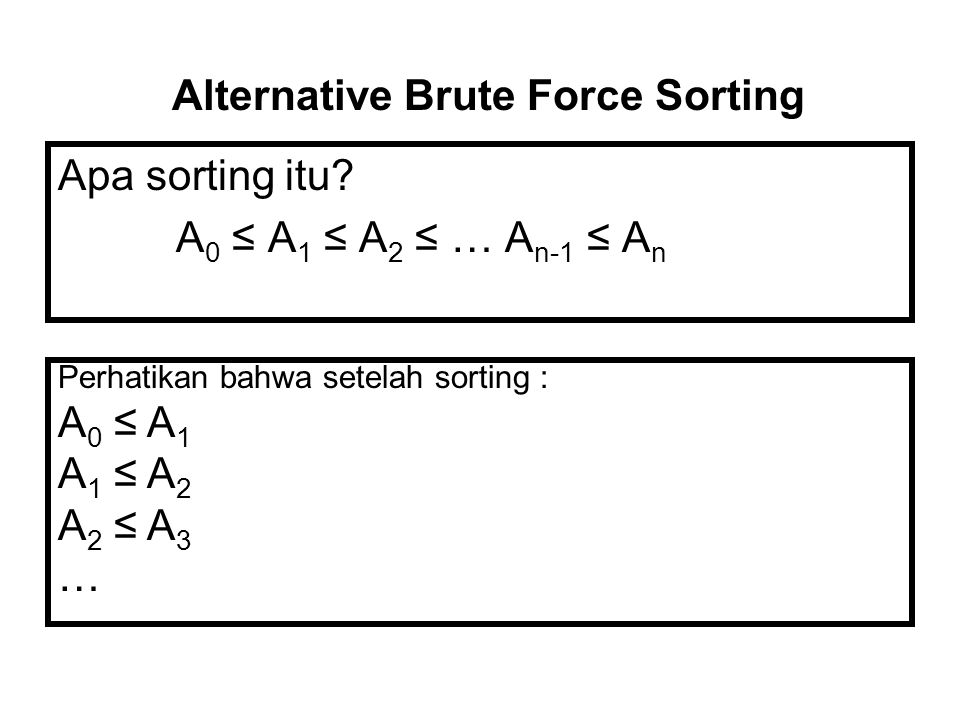 Alternative Brute Force Sorting