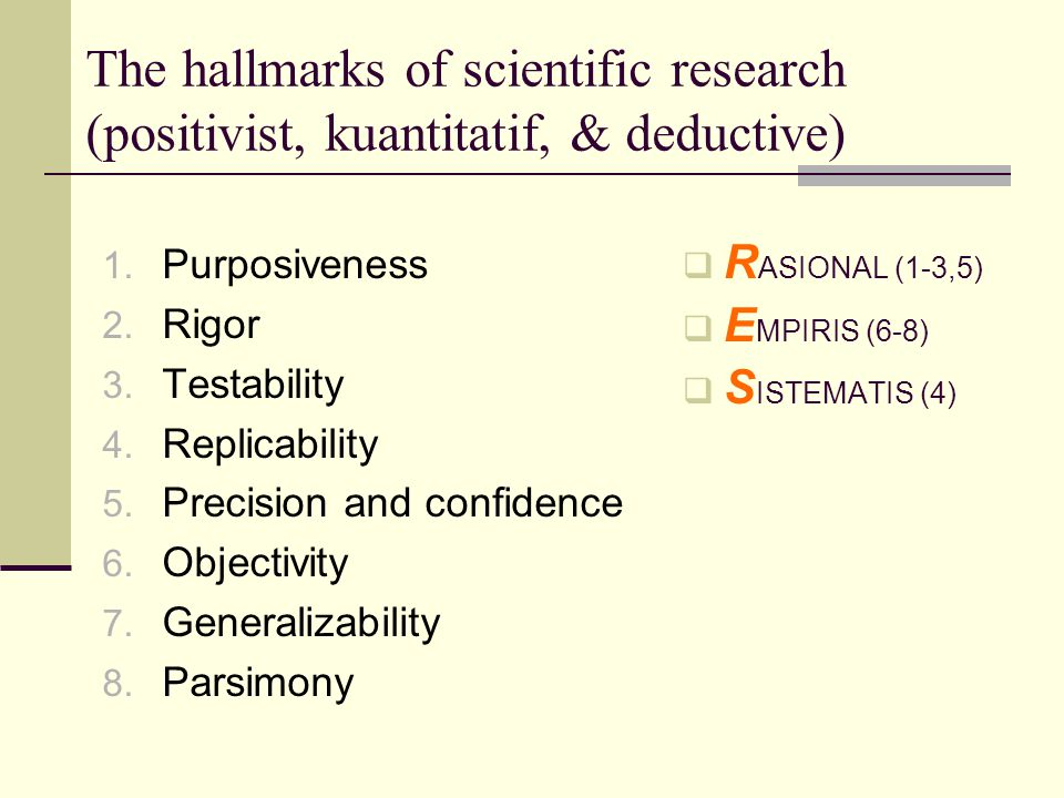 The hallmarks of scientific research (positivist, kuantitatif, & deductive)