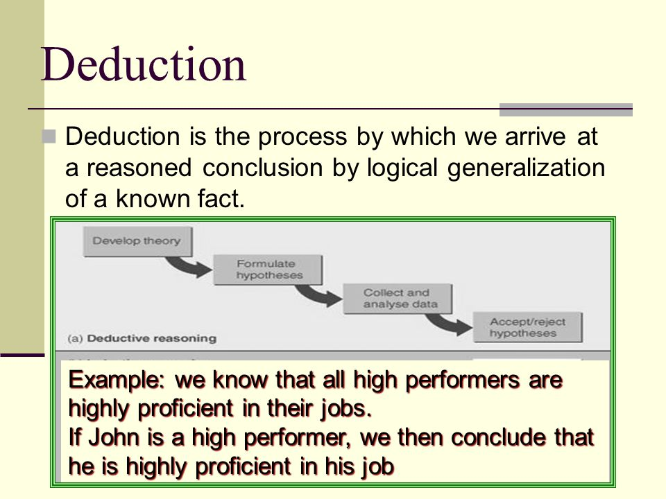Deduction Deduction is the process by which we arrive at a reasoned conclusion by logical generalization of a known fact.