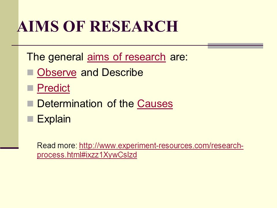 AIMS OF RESEARCH The general aims of research are: