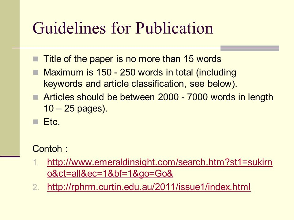 Guidelines for Publication