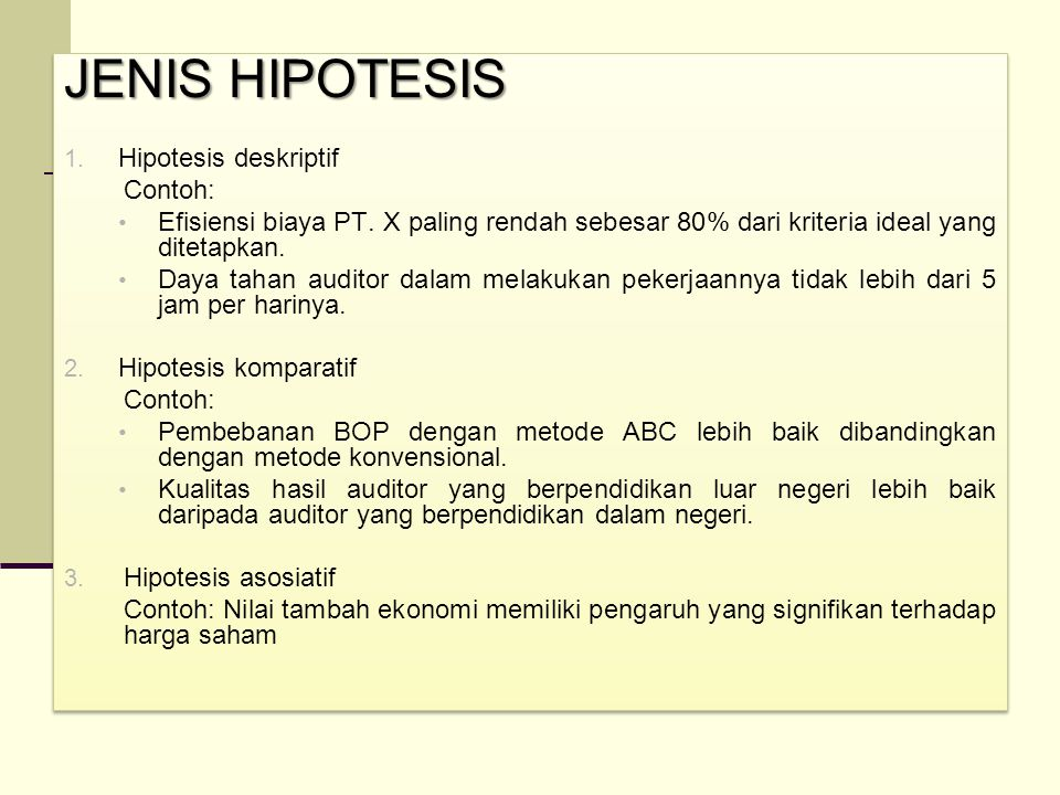 JENIS HIPOTESIS Hipotesis deskriptif Contoh:
