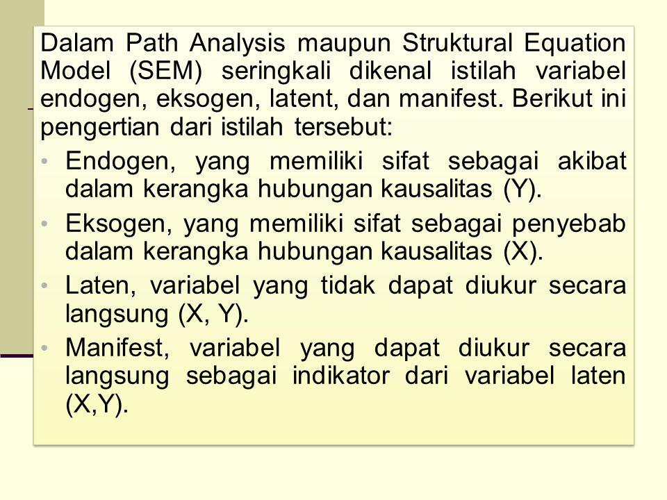 Dalam Path Analysis maupun Struktural Equation Model (SEM) seringkali dikenal istilah variabel endogen, eksogen, latent, dan manifest. Berikut ini pengertian dari istilah tersebut:
