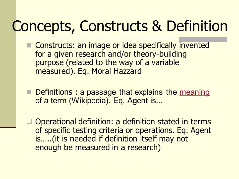Concepts, Constructs & Definition