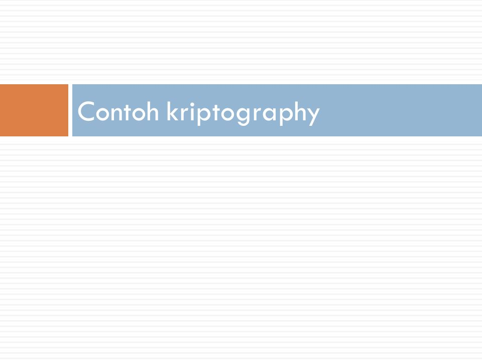 Contoh kriptography