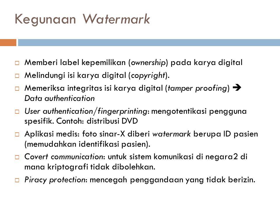 Kegunaan Watermark Memberi label kepemilikan (ownership) pada karya digital. Melindungi isi karya digital (copyright).