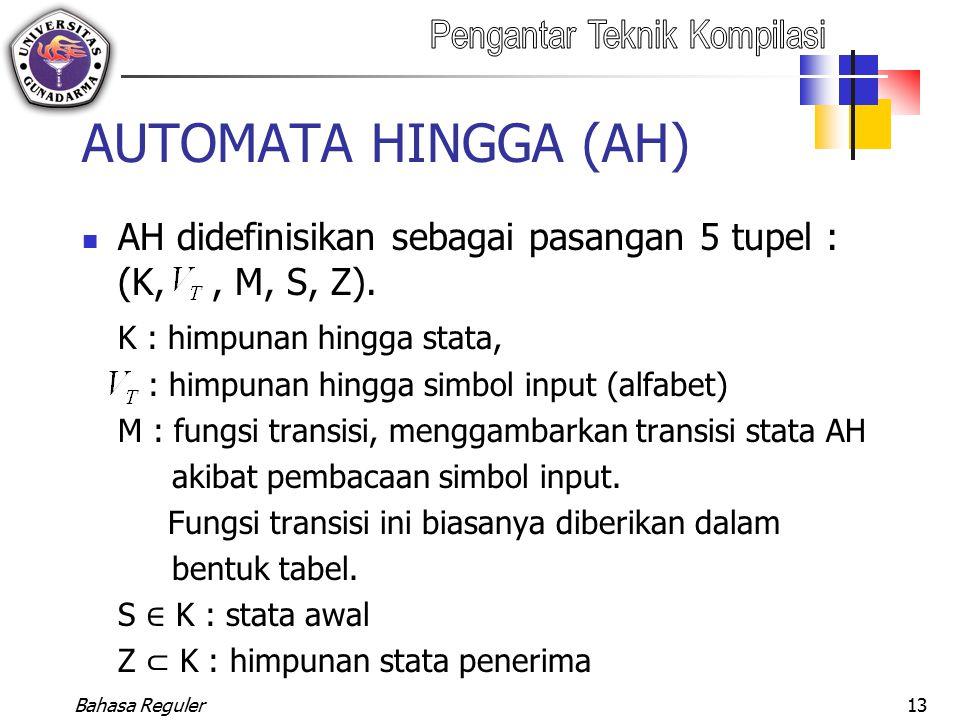 AUTOMATA HINGGA (AH) AH didefinisikan sebagai pasangan 5 tupel : (K, , M, S, Z). K : himpunan hingga stata,