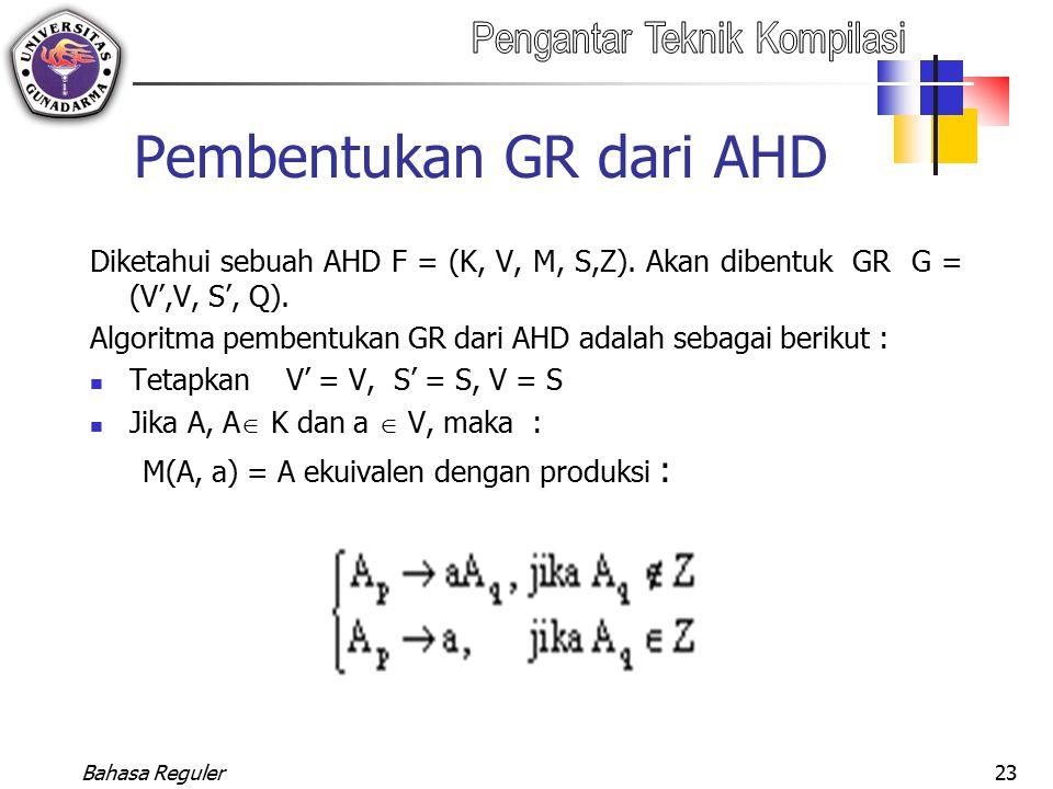 Pembentukan GR dari AHD
