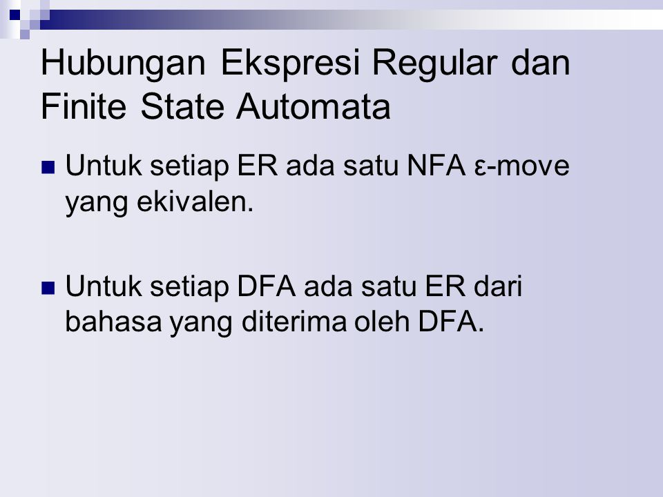 Hubungan Ekspresi Regular dan Finite State Automata