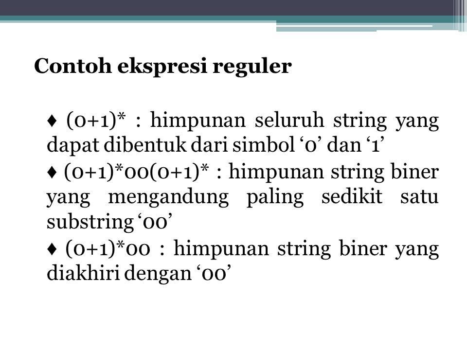 Contoh ekspresi reguler ♦ (0+1)