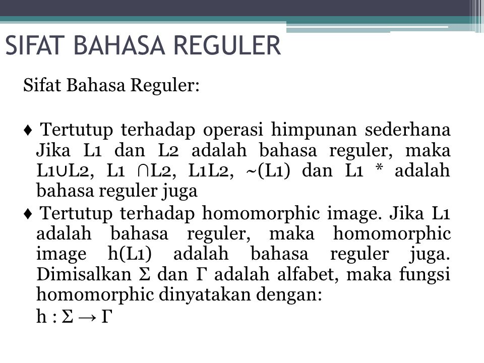 SIFAT BAHASA REGULER