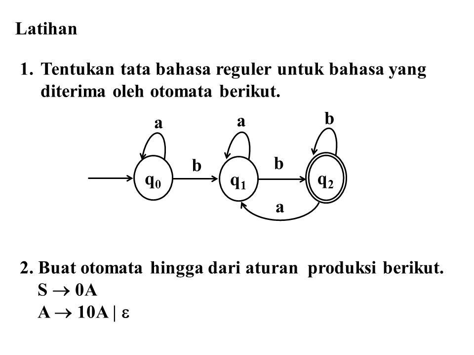 Latihan Tentukan tata bahasa reguler untuk bahasa yang. diterima oleh otomata berikut. 2. Buat otomata hingga dari aturan produksi berikut.