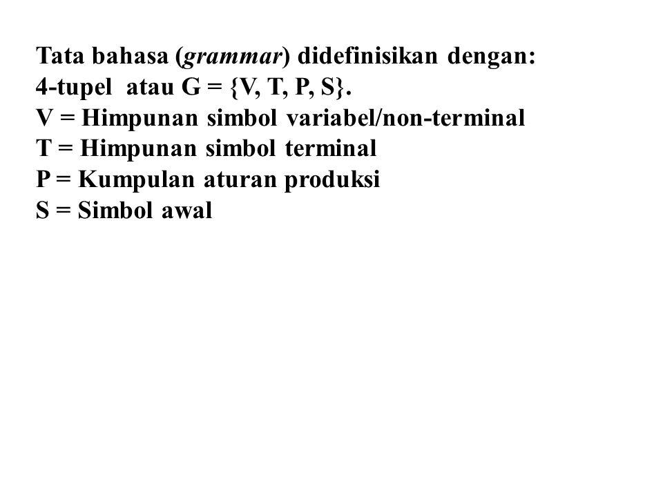 Tata bahasa (grammar) didefinisikan dengan: