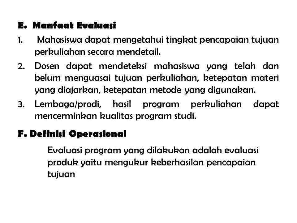 E. Manfaat Evaluasi Mahasiswa dapat mengetahui tingkat pencapaian tujuan perkuliahan secara mendetail.