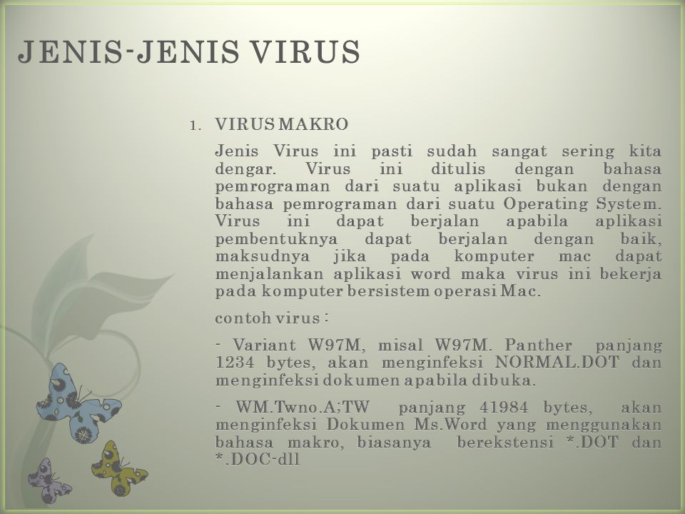 JENIS-JENIS VIRUS VIRUS MAKRO