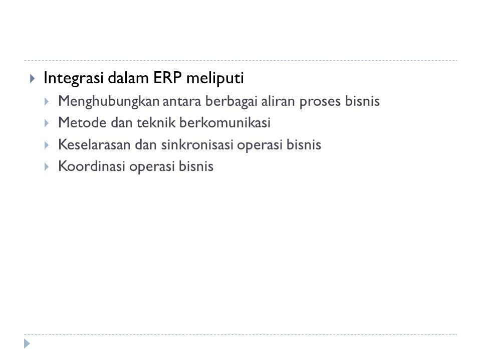 Integrasi dalam ERP meliputi