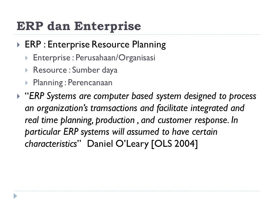 ERP dan Enterprise ERP : Enterprise Resource Planning