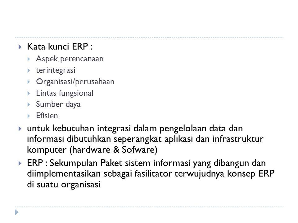 Kata kunci ERP : Aspek perencanaan. terintegrasi. Organisasi/perusahaan. Lintas fungsional. Sumber daya.