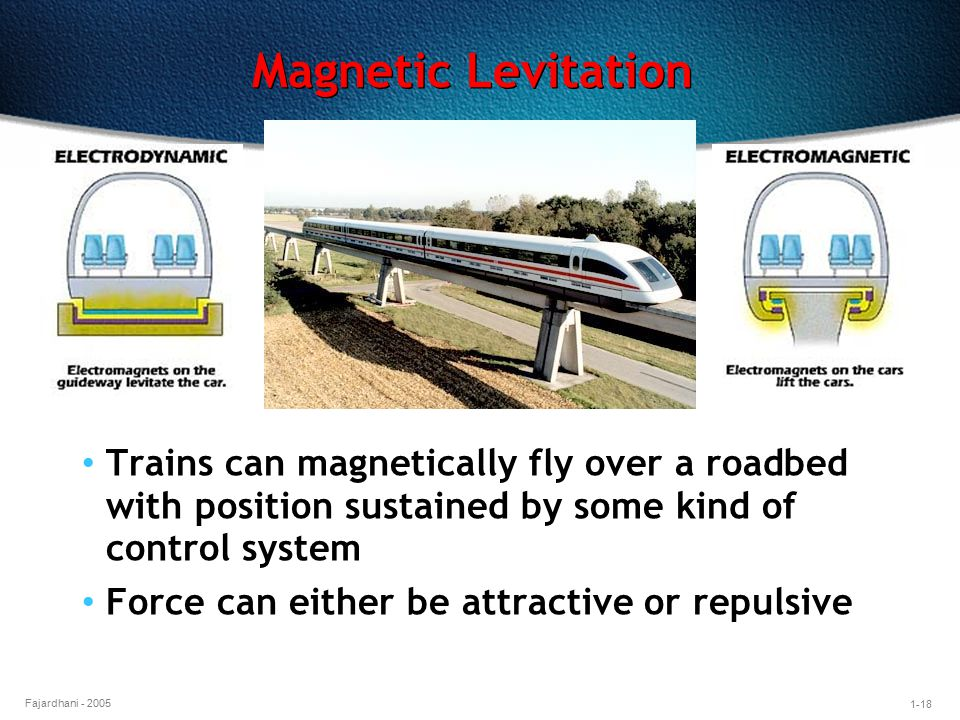 Magnetic Levitation Trains can magnetically fly over a roadbed with position sustained by some kind of control system.