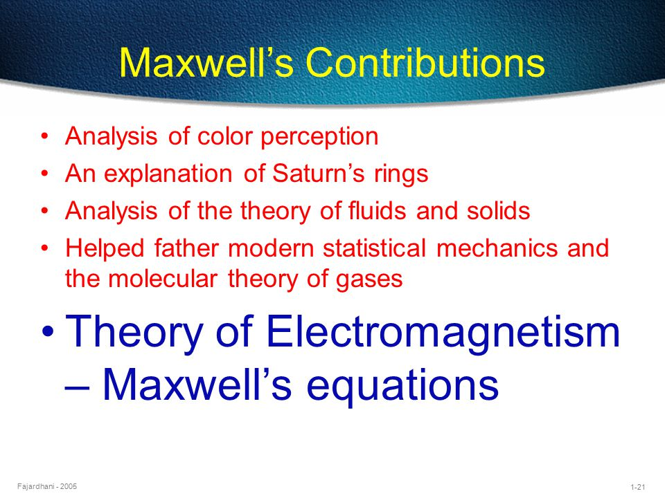 Maxwell's Contributions