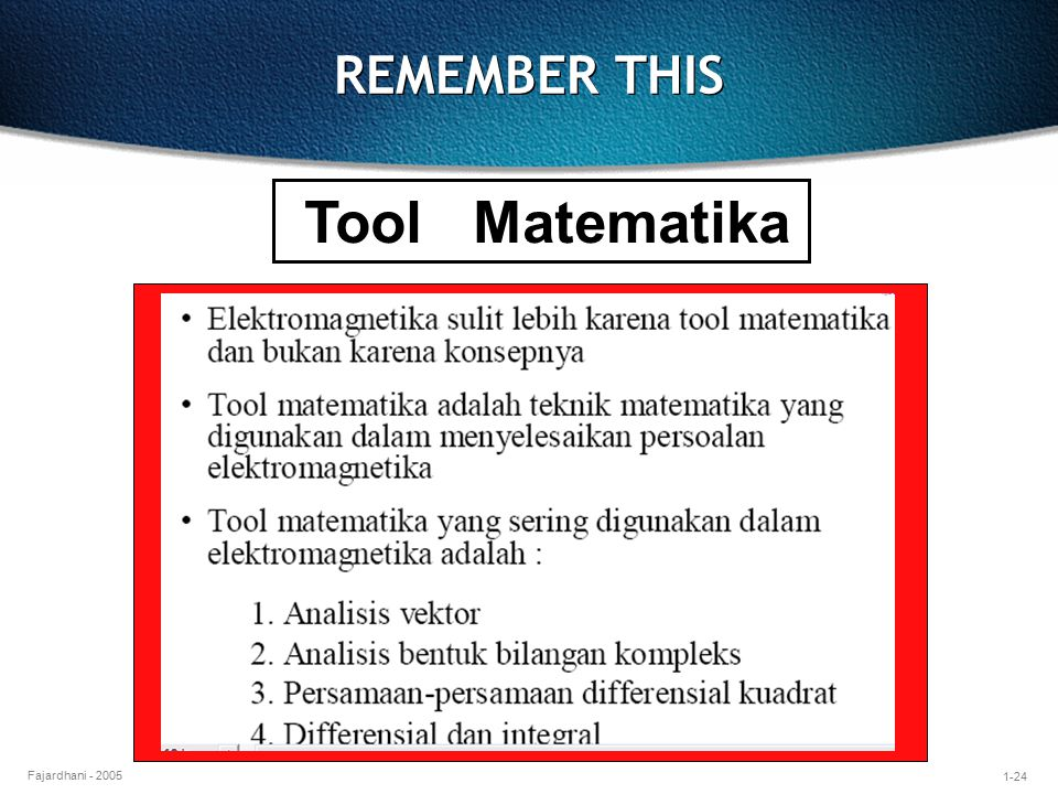 REMEMBER THIS Tool Matematika