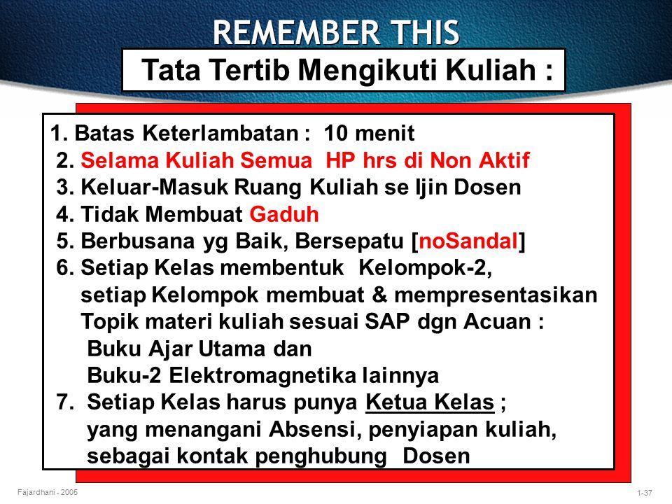 REMEMBER THIS Tata Tertib Mengikuti Kuliah :