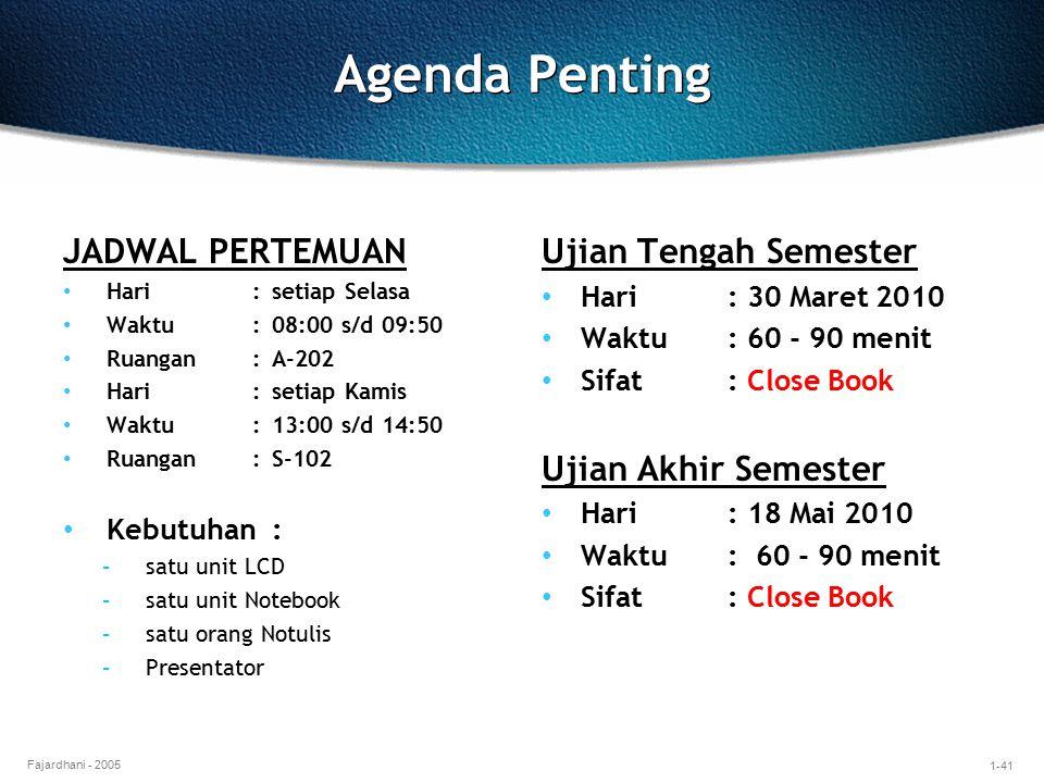 Agenda Penting JADWAL PERTEMUAN Ujian Tengah Semester