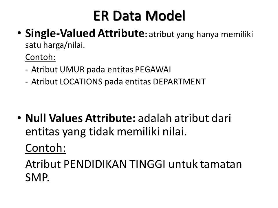 ER Data Model Single-Valued Attribute: atribut yang hanya memiliki satu harga/nilai. Contoh: - Atribut UMUR pada entitas PEGAWAI.