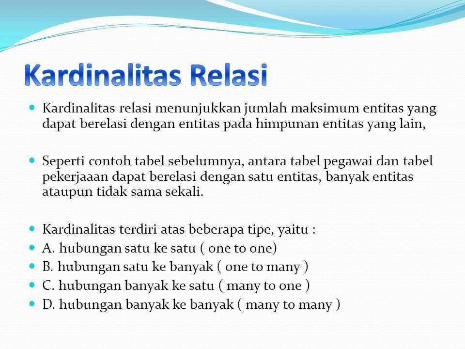 Kardinalitas Relasi Kardinalitas relasi menunjukkan jumlah maksimum entitas yang dapat berelasi dengan entitas pada himpunan entitas yang lain,
