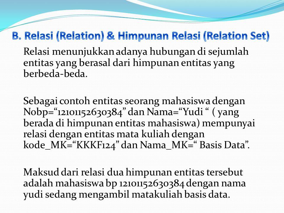 B. Relasi (Relation) & Himpunan Relasi (Relation Set)