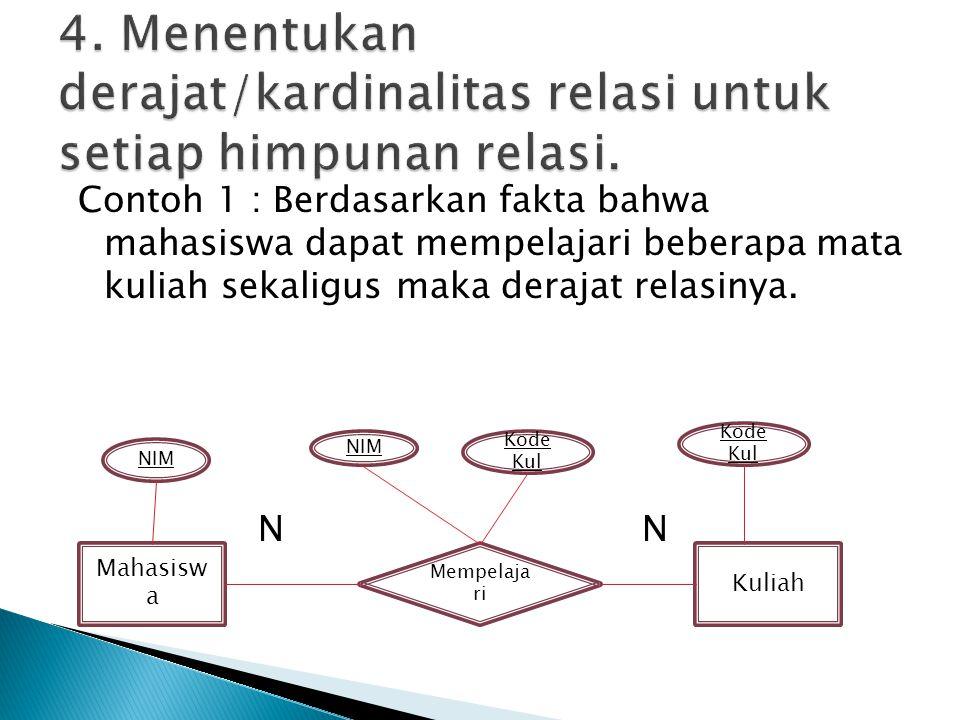 4. Menentukan derajat/kardinalitas relasi untuk setiap himpunan relasi.