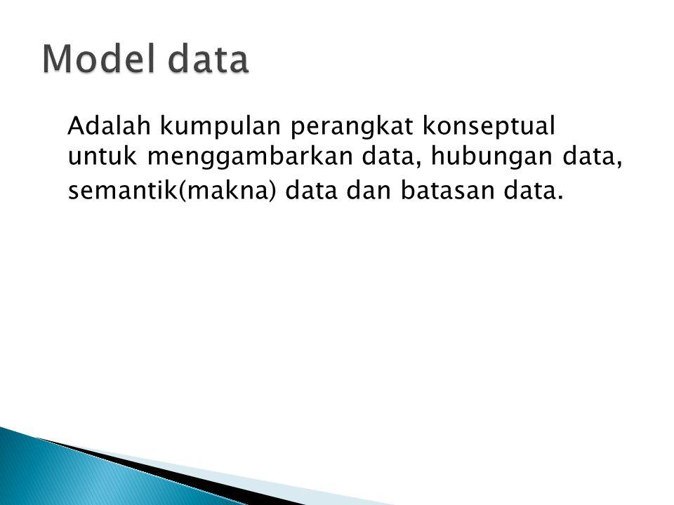 Model data Adalah kumpulan perangkat konseptual untuk menggambarkan data, hubungan data, semantik(makna) data dan batasan data.