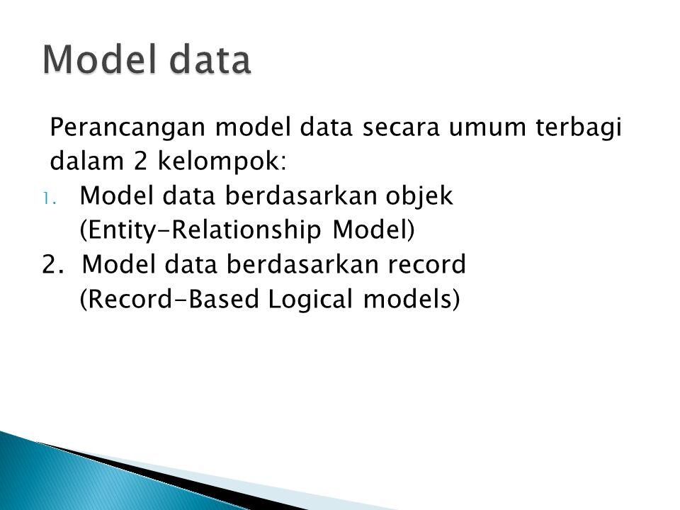 Model data Perancangan model data secara umum terbagi