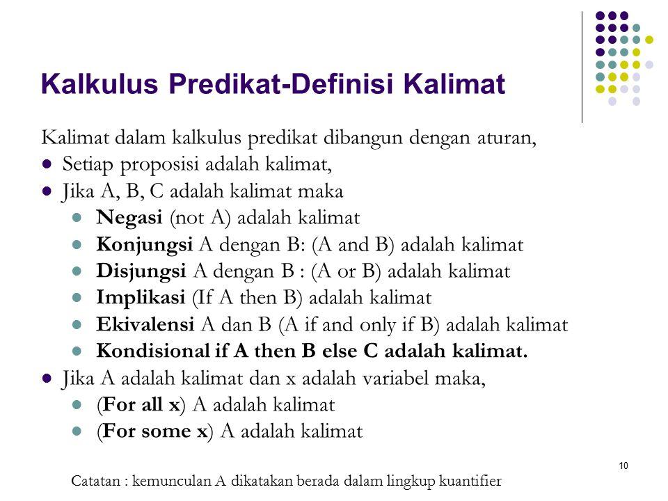Kalkulus Predikat-Definisi Kalimat