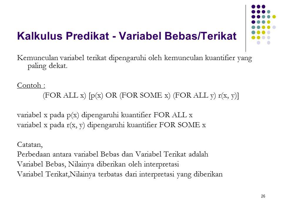 Kalkulus Predikat - Variabel Bebas/Terikat