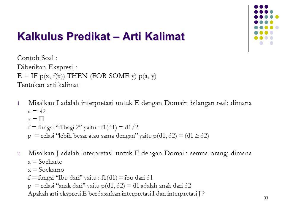 Kalkulus Predikat – Arti Kalimat