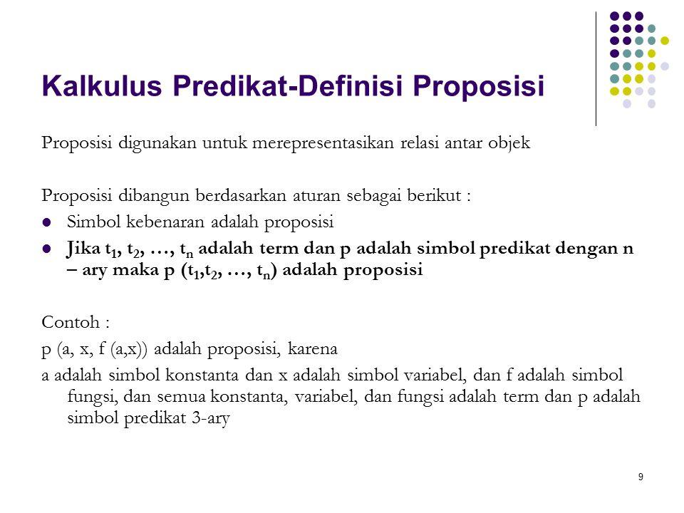 Kalkulus Predikat-Definisi Proposisi