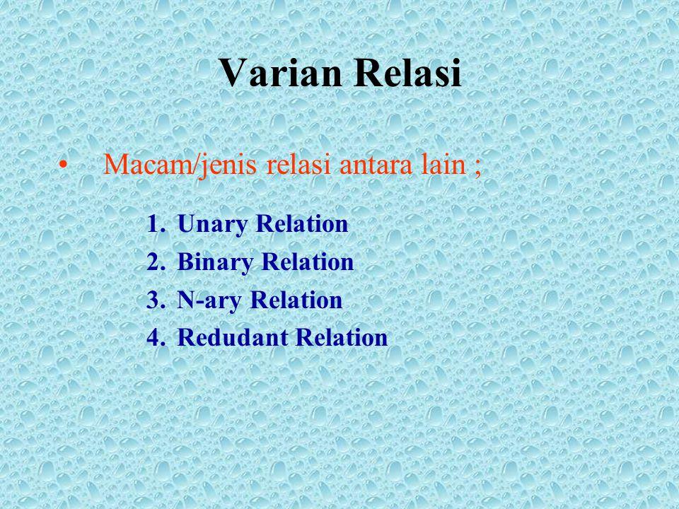 Varian Relasi Macam/jenis relasi antara lain ; Unary Relation