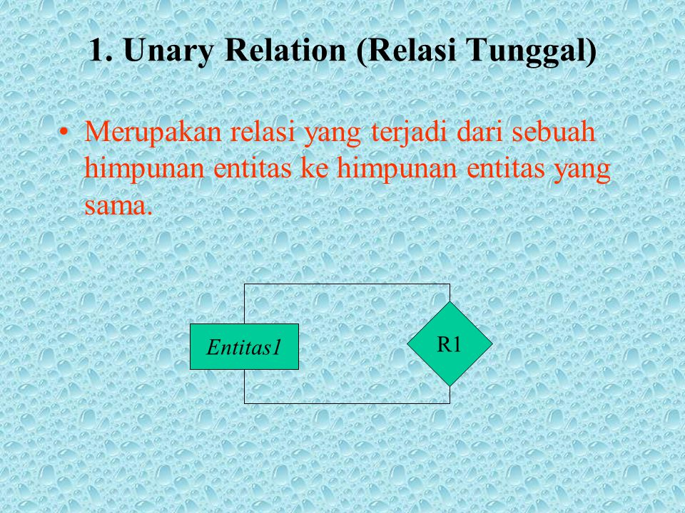 1. Unary Relation (Relasi Tunggal)